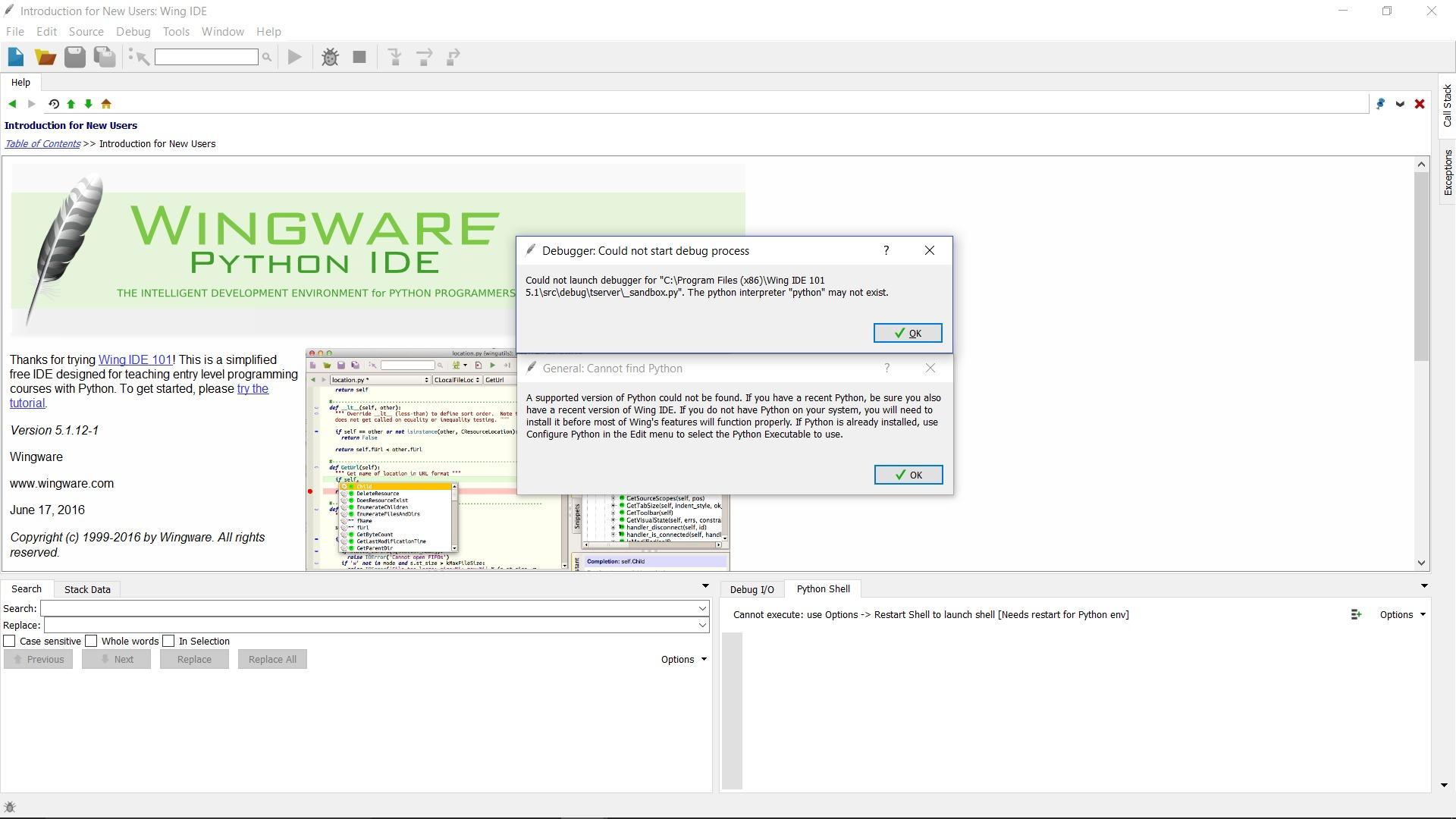 Wing IDE 101 Error Message - Tech help - Computer Science