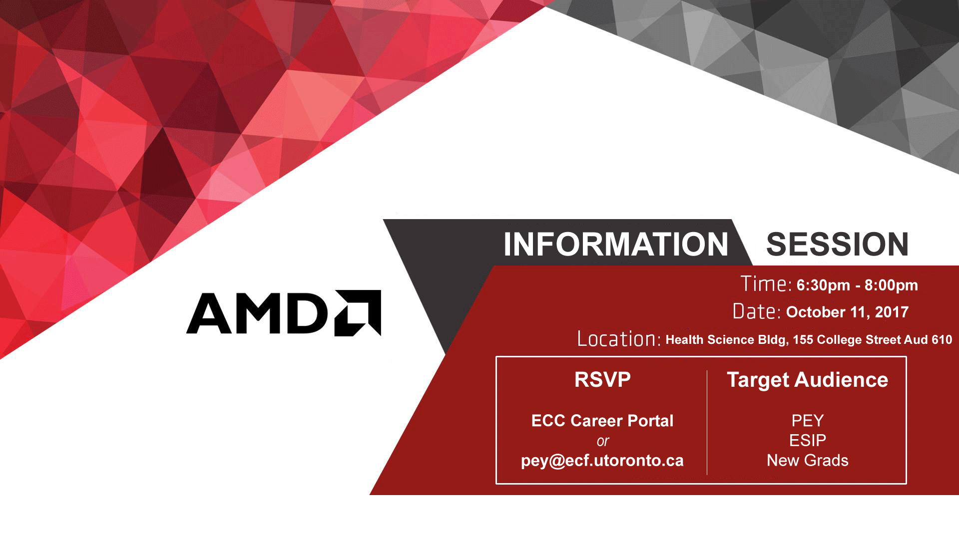 Amd Info Session Pey Oct 11 2017 06 30 Pm To 08 00 Pm Jobs And Professional Experience Computer Science Community
